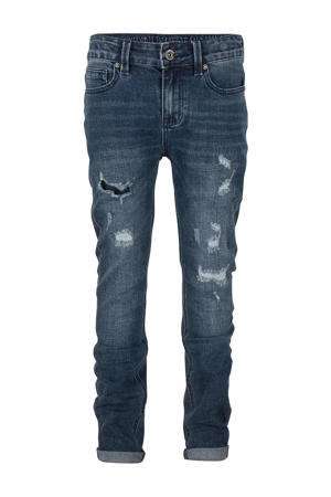 tapered fit jeans Jay met slijtage repaired