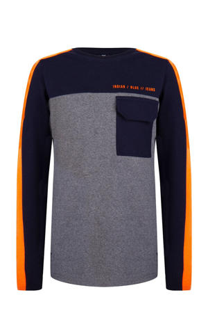 longsleeve grijs melange/donkerblauw/oranje