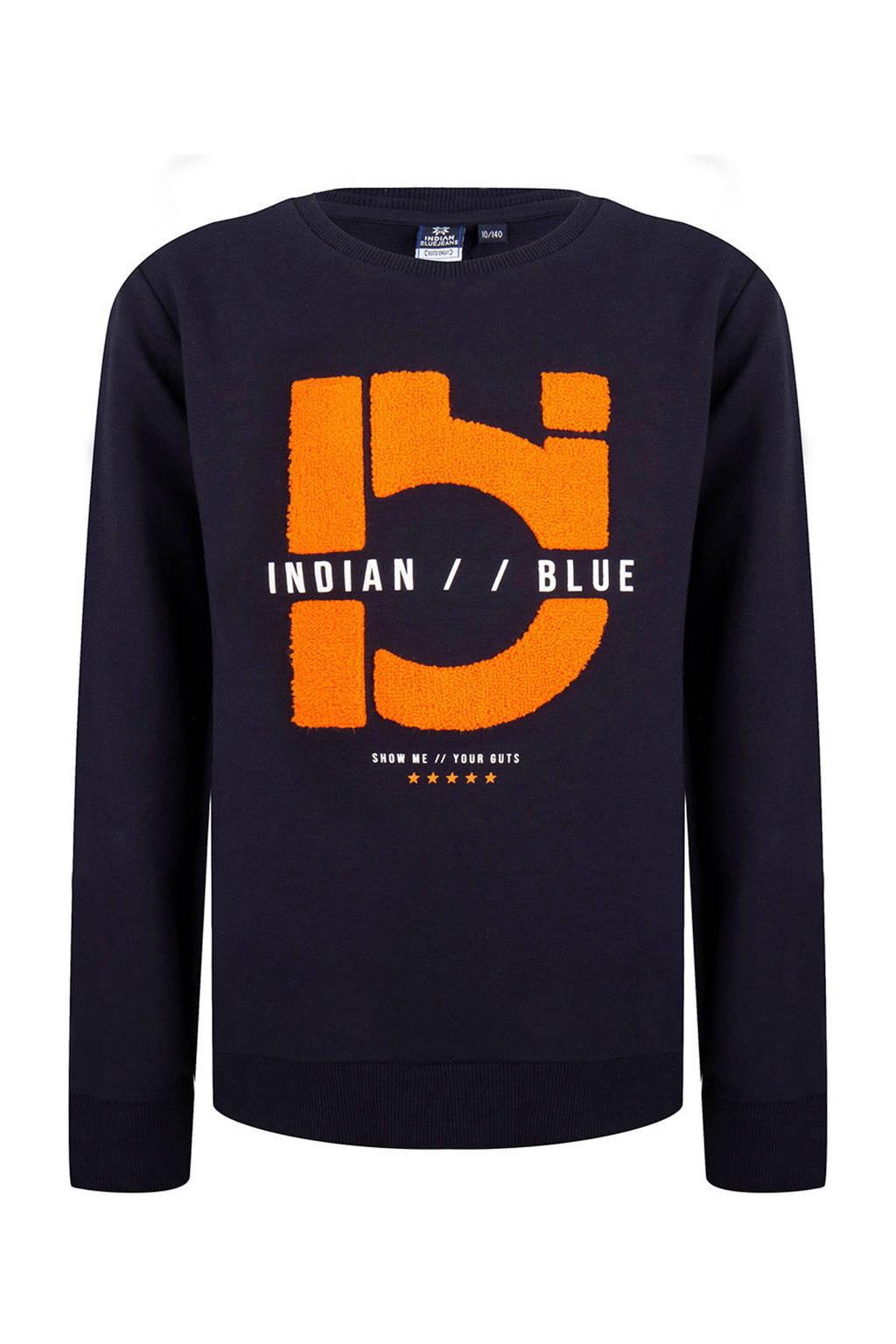 Indian Blue Jeans sweater met logo donkerblauw, Donkerblauw
