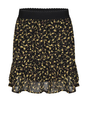 semi-transparante rok met all over print zwart/geel