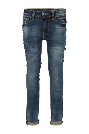 skinny jeans Ryan met slijtage used dark denim