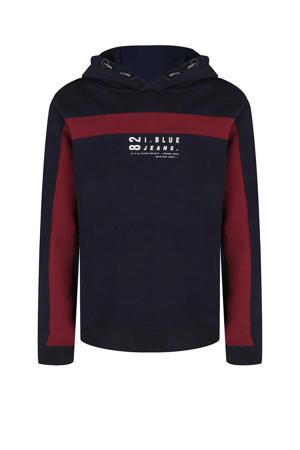 hoodie met tekst donkerblauw/rood