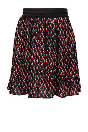 rok met all over print zwart/rood/beige
