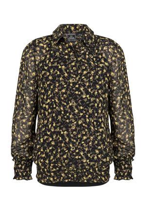semi-transparante blouse met all over print zwart/geel