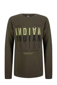 Indian Blue Jeans longsleeve met tekst army groen, Army groen