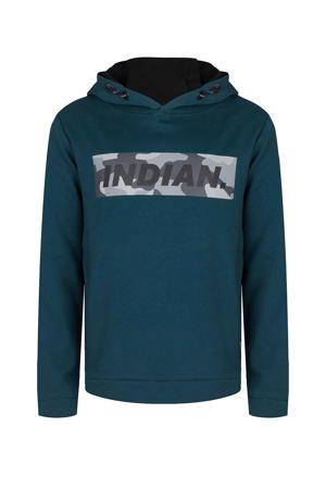 hoodie met logo petrolblauw