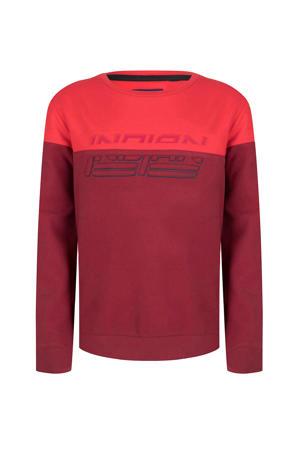 sweater met printopdruk rood/donkerrood