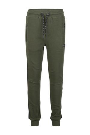 skinny broek met zijstreep army groen
