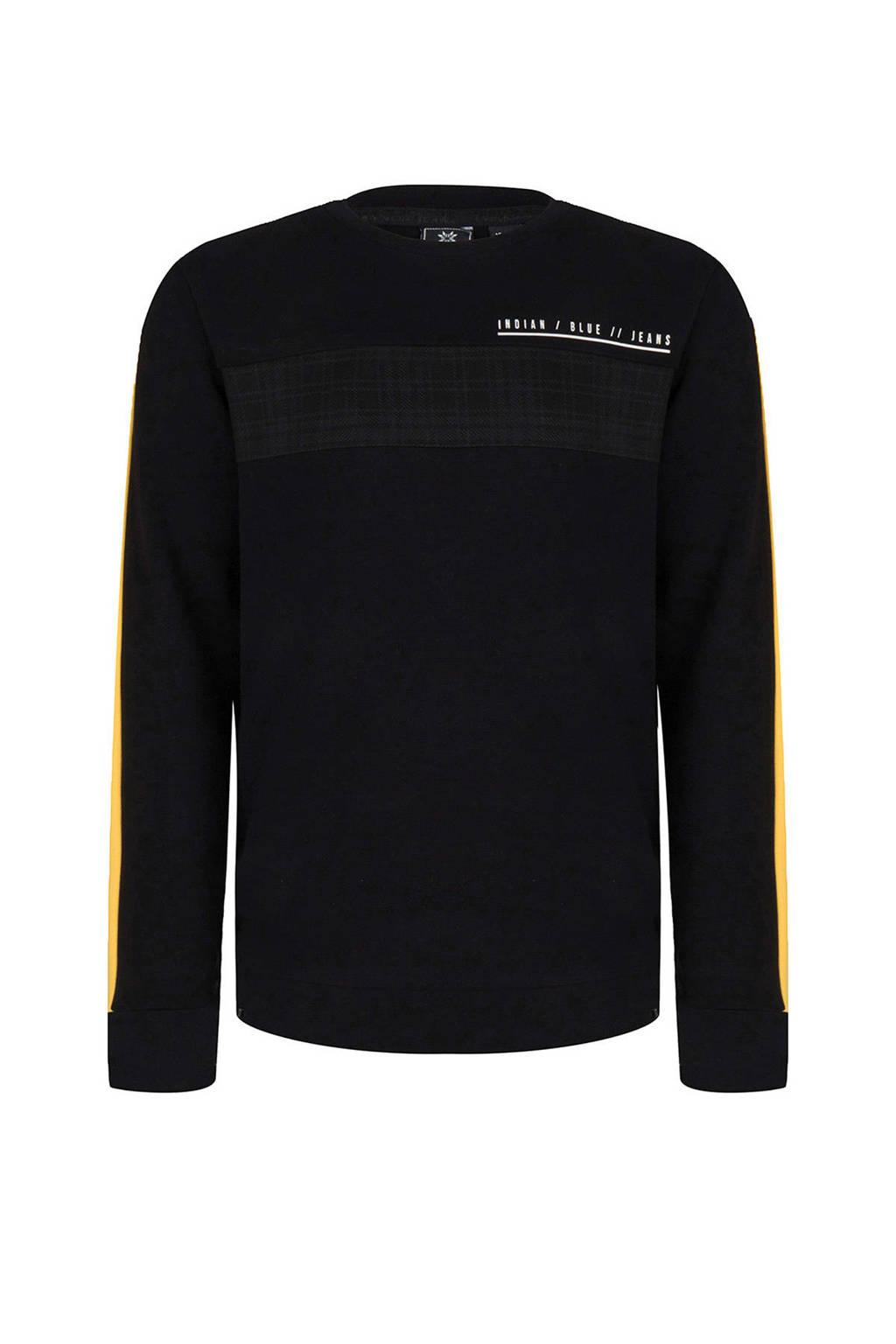 Indian Blue Jeans sweater met contrastbies zwart/geel, Zwart/geel