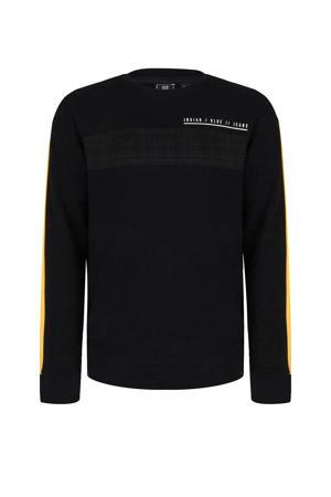 sweater met contrastbies zwart/geel