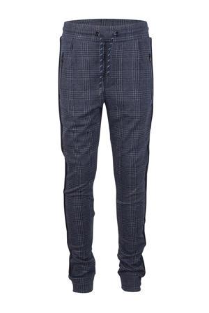 geruite skinny broek met zijstreep donkerblauw