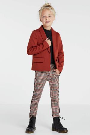 geruite skinny broek bruin/blauw