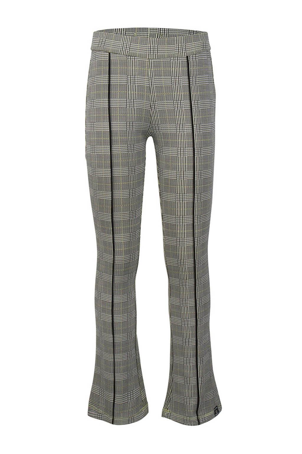 Indian Blue Jeans geruite flared broek met zijstreep grijs, Grijs