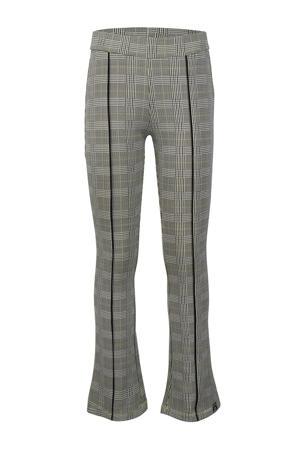 geruite flared broek met zijstreep grijs