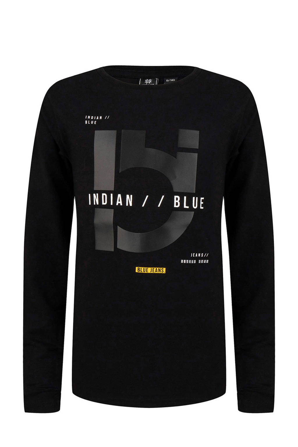 Indian Blue Jeans longsleeve met printopdruk zwart, Zwart