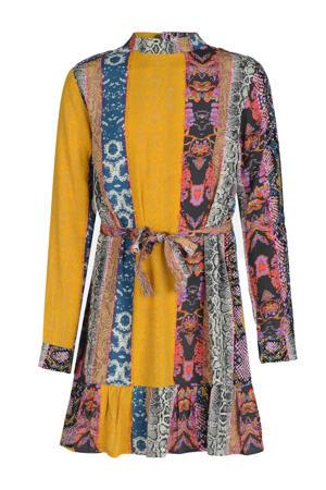 A-lijn jurk met all over print oker/paars/blauw/bruin