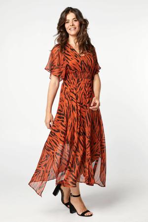 semi-transparante jurk met zebraprint en ruches roodbruin/zwart
