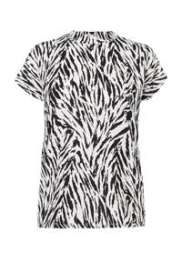 Miss Etam Regulier T-shirt met all over print zwart/wit, Zwart/wit