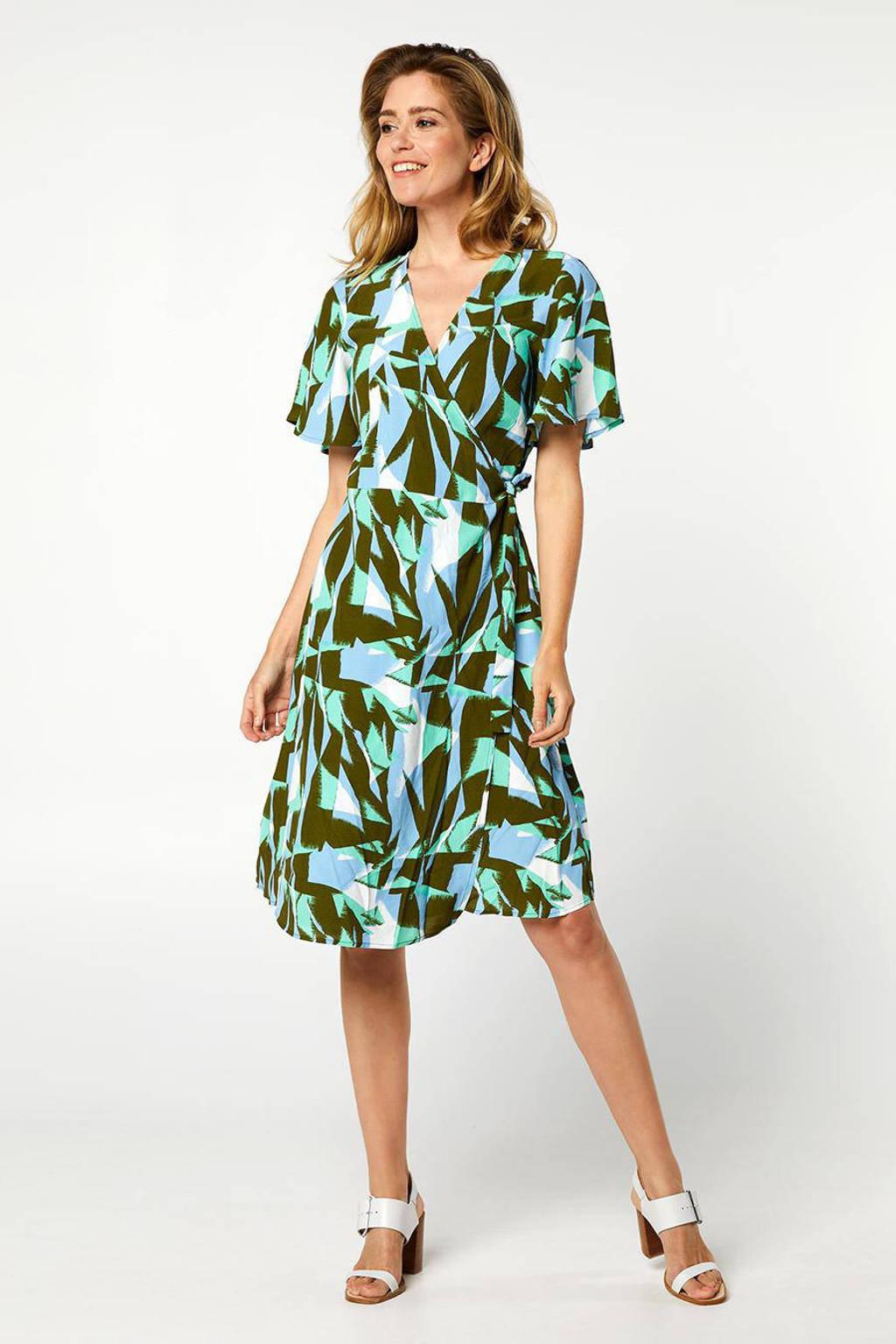 Miss Etam Regulier jurk met all over print blauw/groen, Blauw/groen