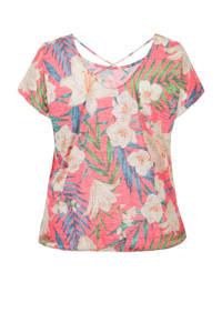 Miss Etam Plus gebloemde top roze/multi, Roze/multi