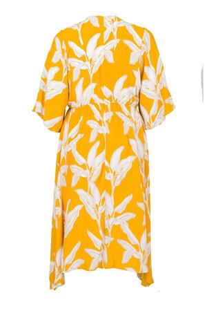 jurk met bladprint en vleermuismouwen geel/wit