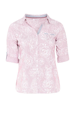 blouse met all over print roze