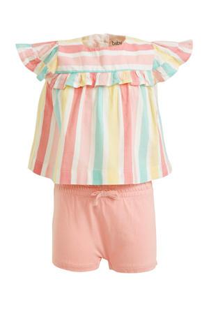 gestreepte blouse + broek roze/geel/blauw