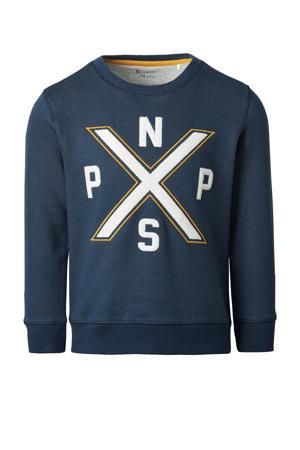sweater Ottosdal met printopdruk donkerblauw/wit/geel