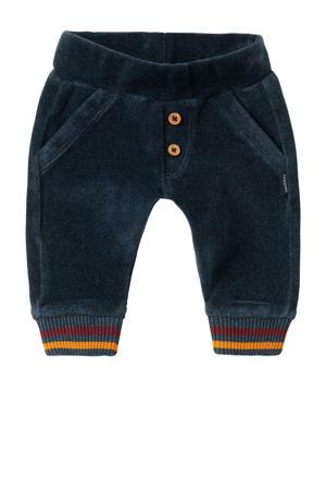 baby regular fit broek Parow met biologisch katoen donkerblauw/donkerrood/okergeel