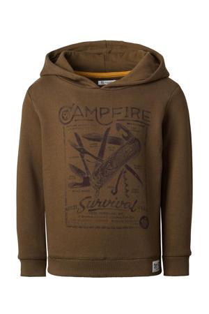 hoodie Taung met printopdruk bruin