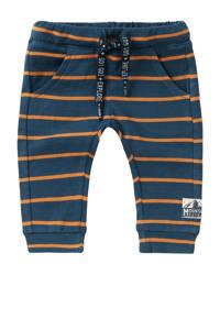 Noppies baby gestreepte slim fit broek Klawer met biologisch katoen donkerblauw/oranje, Donkerblauw/oranje