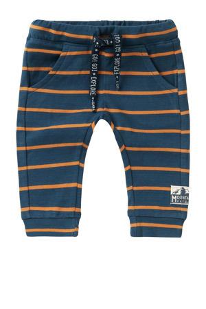 baby gestreepte slim fit broek Klawer met biologisch katoen donkerblauw/oranje