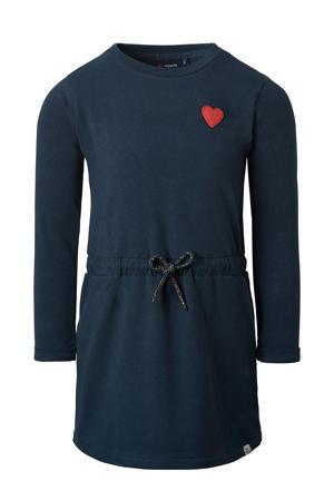 jurk Warrenton met biologisch katoen donkerblauw/rood