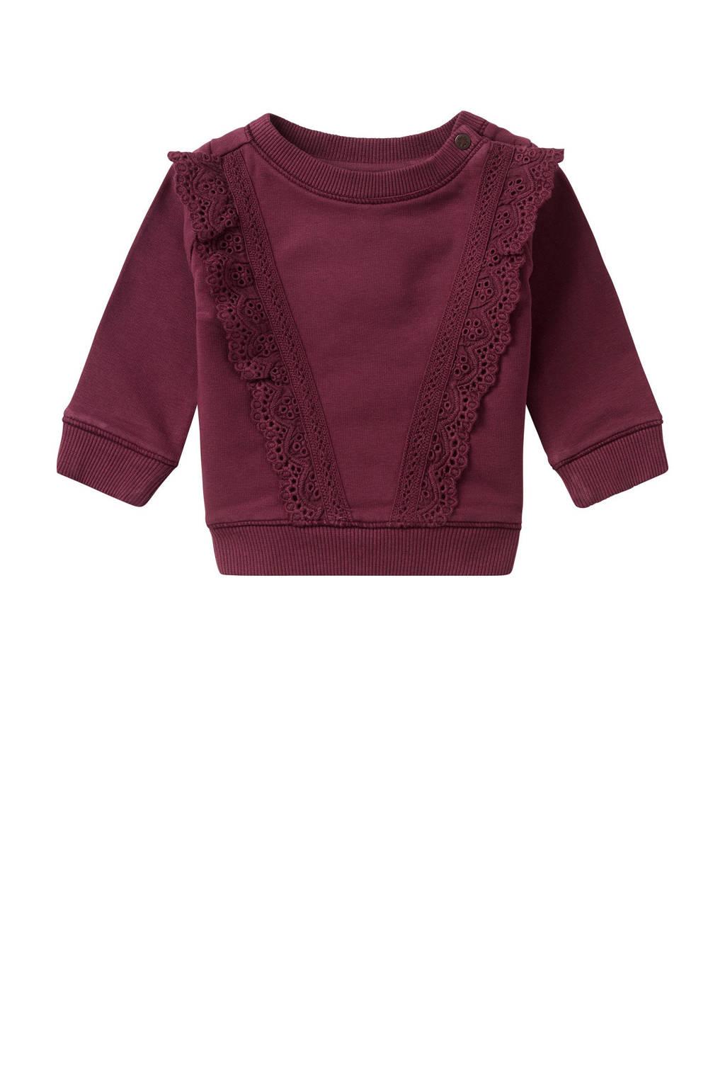 Noppies baby sweater Barbeton met kant donkerrood, Donkerrood