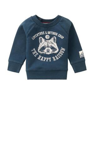 baby sweater Vredendal met printopdruk donkerblauw/wit