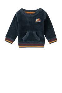 Noppies baby sweater Constantia met printopdruk en borduursels donkerblauw/okergeel, Donkerblauw/okergeel