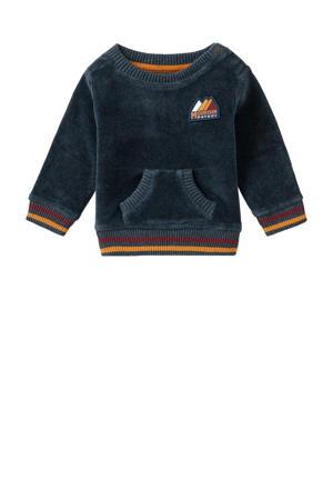 baby sweater Constantia met printopdruk en borduursels donkerblauw/okergeel