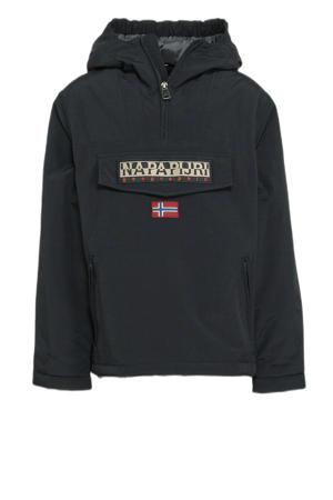 gewatteerde winterjas Rainforest PKT met logo zwart