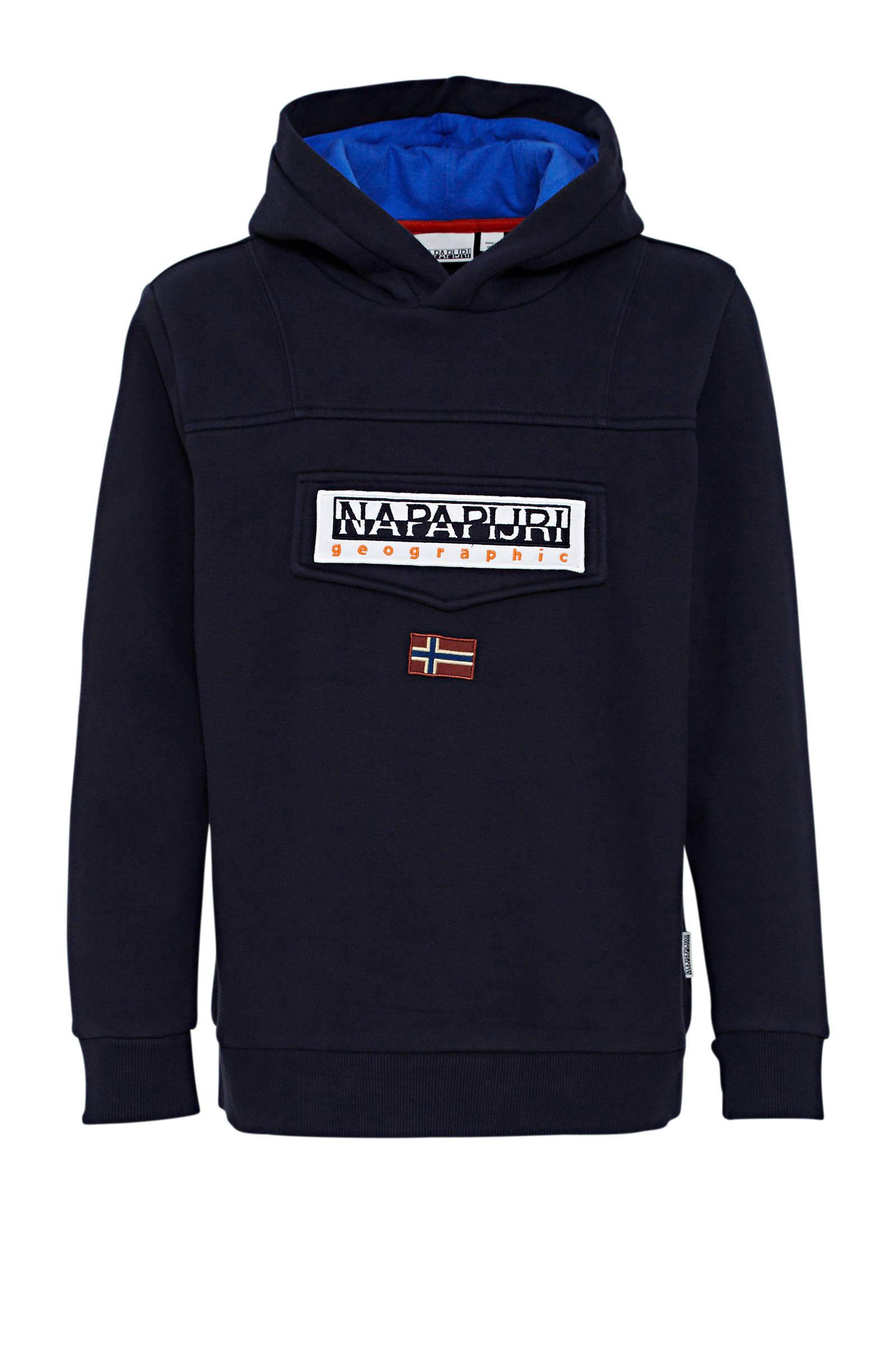 Napapijri hoodie Burgee met logo donkerblauw | wehkamp