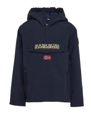 gewatteerde winterjas Rainforest PKT met logo donkerblauw
