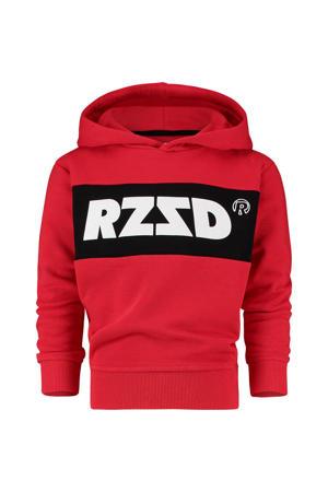 hoodie Riga met logo rood/zwart/wit