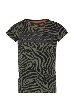 T-shirt Verona met zebraprint army groen/zwart
