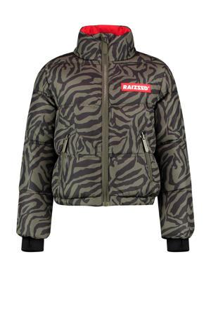 gewatteerde winterjas Lima met zebraprint army groen/zwart