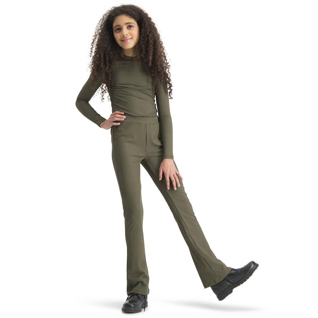 Raizzed flared broek Porto met textuur army groen, Army groen