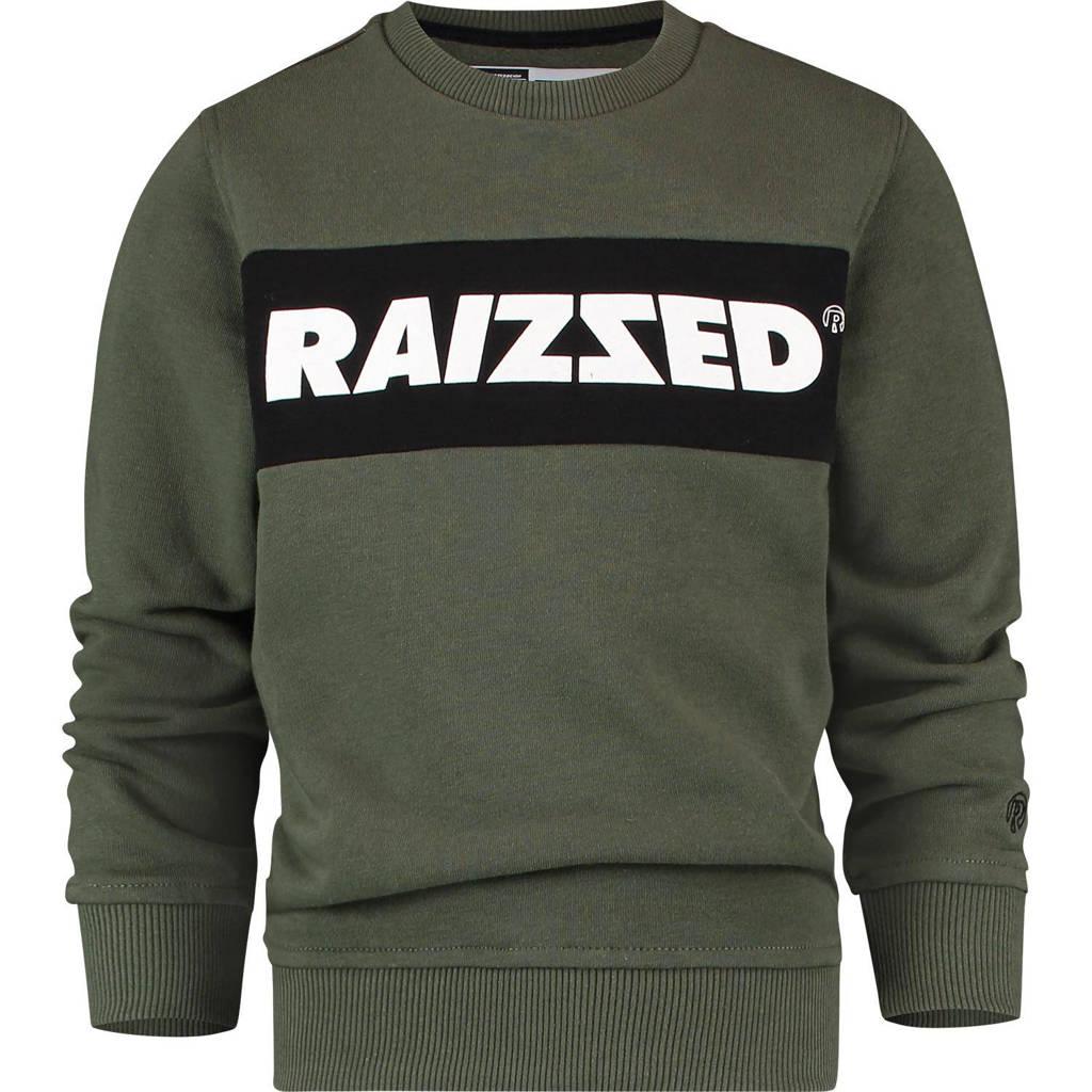 Raizzed sweater Novato met logo army groen, Army groen