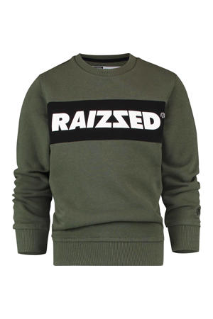 sweater Novato met logo army groen