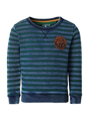 gestreepte sweater Bedford groen/blauw