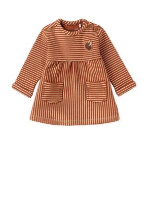 gestreepte A-lijn jurk Melmoth met biologisch katoen roestoranje/ecru