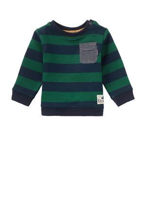 baby gestreepte sweater Oviston donkerblauw/groen