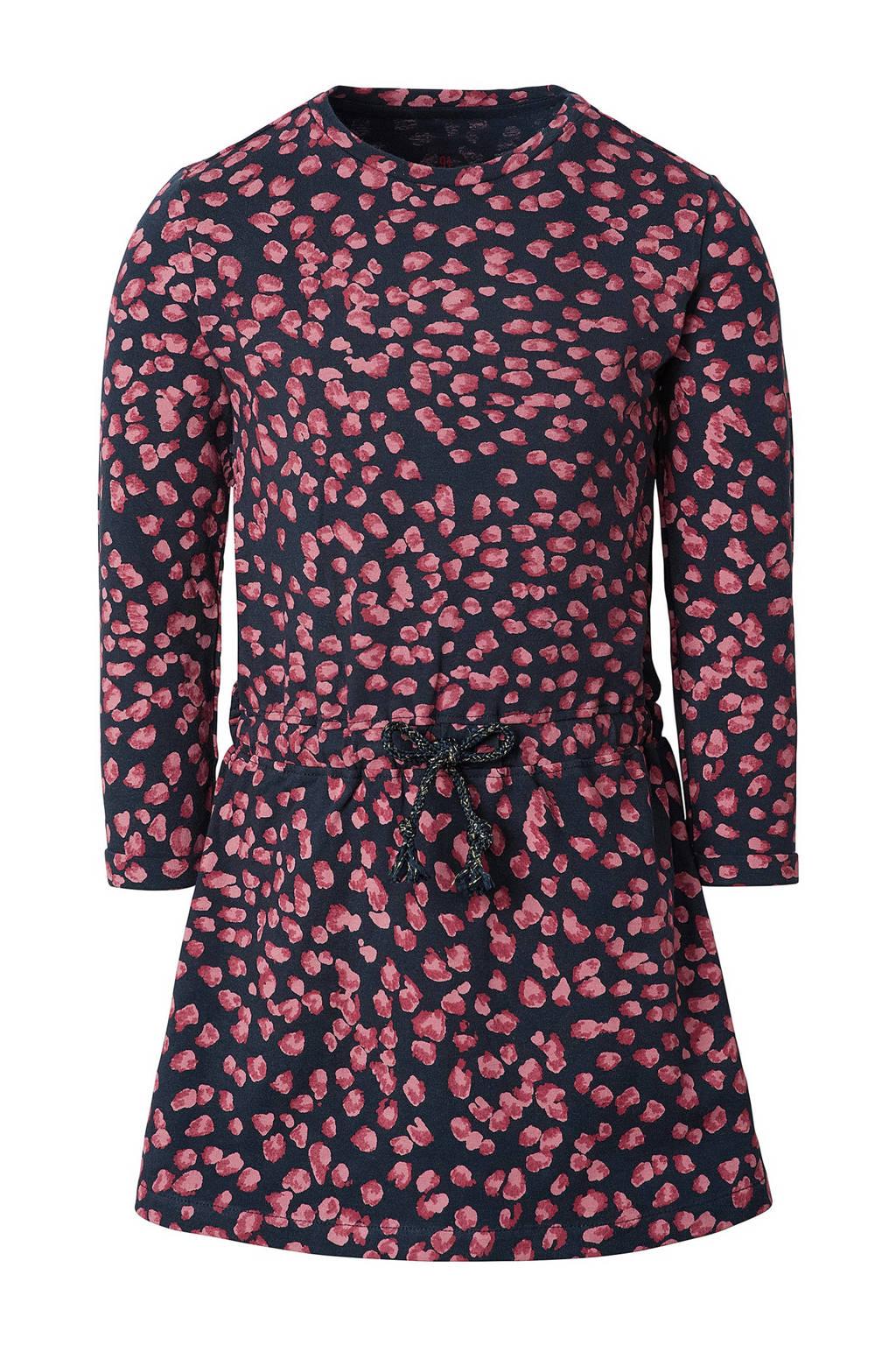 Noppies jurk Reitz met biologisch katoen donkerblauw/roze, Donkerblauw/roze